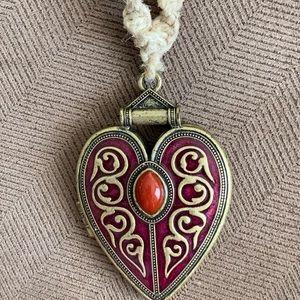 Handmade boho necklace with locket